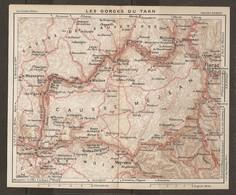 CARTE PLAN 1927 - RÉGION LES GORGES Du TARN CAUSSE De SAUVETERRE CAUSSE MÉJEAN CAUSSE NOIR - Topographical Maps