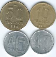 Argentina - Australe - 10 (1986 - KM98) & 50 Centavos (1988 - KM99) 1 Austral (1989 - KM100) 5 Australes (1989 - KM101) - Argentina