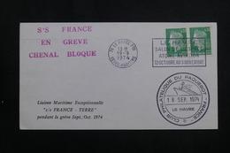 """FRANCE - Griffe """" S/S France En Greve Chenal Bloqué """" Sur Enveloppe En 1974 Du Havre - L 61839 - Marcophilie (Lettres)"""