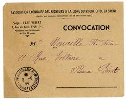 *JOURNAUX P.P. * LYON-PREFECTURE 1944 FEUILLET PORTANT AU VERSO CONVOCATION ASSOCIATION PECHE A LA LIGNE AU TAMPON SCANS - Marcophilie (Lettres)