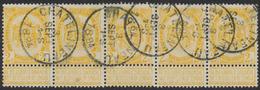 """Fine Barbe - N°54 En Bande De 5 Obl Simple Cercle """"Chatelineau"""" - 1893-1800 Fijne Baard"""
