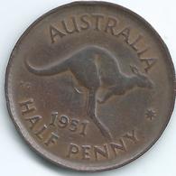 Australia - George VI - ½ Penny - 1951 - KM42 - Perth Mint - Sterling Coinage (1910-1965)