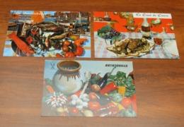3 CP Carte Postale Publicitaire MADELEINES De La CLOCHE D'OR - Recette De Cuisine Ratatouille Bouillabaisse Civet Lièvre - Ricette Di Cucina