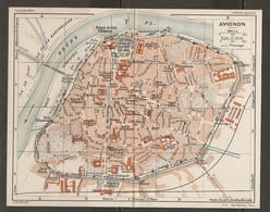 CARTE PLAN 1927 - AVIGNON - CASERNES DIGUE SUBMERSIBLE NOMBREUSES PORTES PONT BÉNÉZET - Topographical Maps