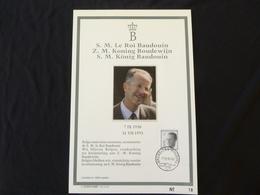 """BELG.1993 2520 FDC Filatelic Card : """" Z.M BOUDEWIJN / S.M BAUDOUIN 1930/1993 """" - FDC"""