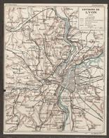 CARTE PLAN 1927 - ENVIRONS De LYON - CHEMIN De FER Sur ROUTE CHEMIN D'INTÉRET COMMUN VICINAL - Topographical Maps
