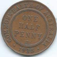 Australia - George VI - ½ Penny - 1938 - KM35 - Melbourne Mint - Sterling Coinage (1910-1965)