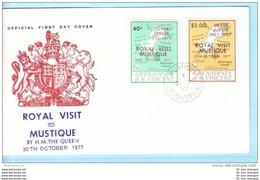 ST. VINCENT GRENADINES FDC 126-27 Royal Visit Mustique (15119) - St.Vincent & Grenadines