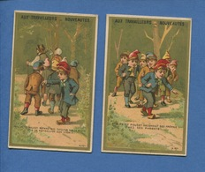 Paris Aux Travailleurs Deux Joli Chromos Calendrier Imprimerie Laas 1885 Conte Du Petit Poucet Image 1 Et 5  Fratrie - Chromos