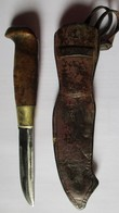 ANCIEN COUTEAU PUUKKO FINLANDE MARQUE MARTTIINI ETUI CUIR ANNEES 40/50 - Knives/Swords