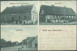 Pologne Polska Gruss Aus Sdunowen Zdunowo Ermland Masuren Gmina Pisz Johannisburg Gasthaus Schule 1915 - Pologne