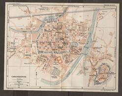 CARTE PLAN 1927 - CARCASSONNE - LA CITÉ CASERNES RÉSERVOIR MOULIN Du ROI GENDARMERIE Et PRISON - Topographical Maps