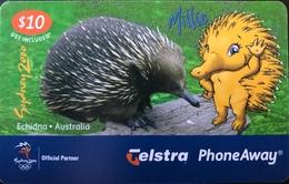 AUSTRALIE  -  Prepaid  - Telstra PhoneAway  -  Echidna  -   $ 10 - Australië