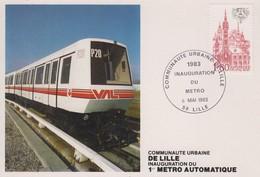 Carte  FRANCE   Inauguration  Du  1er  Métro  Automatique  LILLE   1983 - Transporte