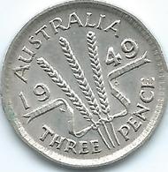 Australia - George VI - 1949 - 3 Pence - KM44 - Sterling Coinage (1910-1965)