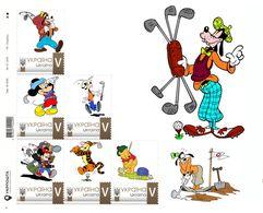 Ukraine 2018, Golf, Disney Cartoon Players, Sheetlet Of 6v - Oekraïne