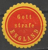 Gott Strafe England - Germany WWI - LABEL / CINDERELLA / VIGNETTE Envelope Close - MH / BOMB - 1. Weltkrieg