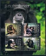 Bloc Sheet Animaux Singes Chimpanzes Animals Monkey Chimpanzees  Neuf MNH **  Niger 2013 - Chimpancés
