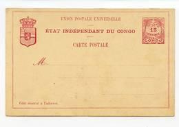 Etat Indépendant Du Congo Carte Postale Stationary Entier Postal 15 Centimes  ( 2 Scans ) - Stamped Stationery
