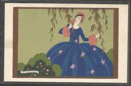 Illustrateur - Meschini - Ars Nova  - Peint A La Main ? - Pochoir ? -  Femme Dans Un Jardin - Fleurs - Illustrateurs & Photographes