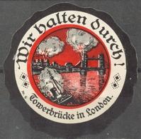 Bombing TOWER BRIDGE Thames LONDON Germany WWI - LABEL CINDERELLA VIGNETTE Envelope Close - Steamer Ship - 1. Weltkrieg