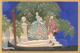 Illustrateur - Meschini - Ars Nova - Couple - Peint A La Main ? - Pochoir ?  - Gondole - Portaille Jardin -  Italian - Illustrators & Photographers