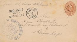 Nederlands Indië - 1888 - 10 Cent Willem III, Envelop G6 Van KR- En Puntstempel Padang - Over Marseille - Naar Den Haag - Nederlands-Indië