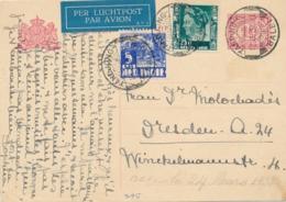 Nederlands Indië - 1937 - 10 Cent Cijfer, Briefkaart G49 + 30 Cent Per Luchtpost Van PV1 TANDJONGBALEI Naar Dresden - Indes Néerlandaises