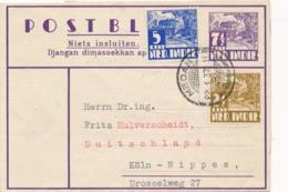 Nederlands Indië - 1937 - 7,5 Cent Karbouwen, Postblad G3 + 7,5 Cent Van PV1 Medan Naar Köln / Deutschland - Indes Néerlandaises