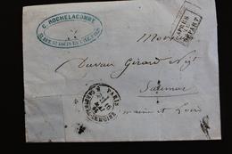 1866 LSC CAD PARIS/CARDINAL-LEMOINE DU 16/05 POUR SAUMUR CAD ARRIVEE DU 17 CAD AMBULANT PARIS A BORDEAUX J.. - 1849-1876: Période Classique