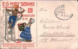 ! Alte Ansichtskarte 1910, Frankfurt Am Main, May Söhne Graphische Kunstanstalten, Reklame, Werbung - Pubblicitari