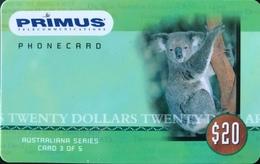 AUSTRALIE  -  Phonecard   -  PRIMUS  -  Koala  -  $ 20 - Australië