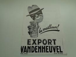 """Origineel Knipsel ( 1882 ) Tijdschrift """" Brasseur """" Reclame Publicité Bière Bier Brouwerij  Brasserie Vandenheuvel Brux. - Advertising"""