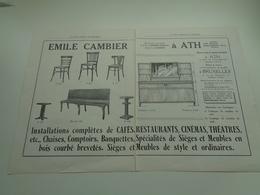 """Origineel Knipsel ( 2535 ) Tijdschrift """" Brasseur """" Reclame Publicité -  Emile Cambier  Meubles   Ath - Reclame"""