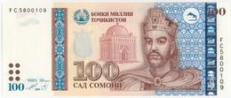TAJIKISTAN TADJIKISTAN TADSCHIKISTAN 100 SOMONI P- 27a Ismoili Somoni - Presidential Palace, Dushanbe 1999 / 2013 UNC - Tadschikistan