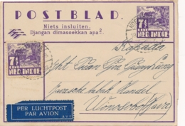Nederlands Indië - 1940 - 7,5 Cent Karbouwen, Postblad G4 + 7,5 Cent PV2 KOETARADJA Per Luchtpost Naar Wonosobo - Indes Néerlandaises