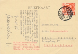 Nederlands Indië - 1937 - 10 Cent Karbouwen - Enkelfrankering Op Kaart Van PV1 Medan Naar Köln / Deutschland - Indes Néerlandaises
