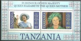 Tanzania 1985 Queen Mother Elisabeth's 85th Birthday, Mi Bloc 43, MNH)**) - Tanzania (1964-...)