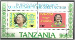 Tanzania 1985 Queen Mother Elisabeth's 85th Birthday, Mi Bloc 42, MNH)**) - Tanzania (1964-...)