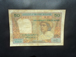 MADAGASCAR * : 50 FRANCS = 10 ARIARY    ND 1969     P 61a      TTB Sale - Madagascar