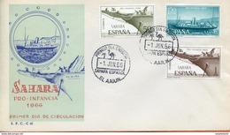 """Maroc, FDC ,primer Dia,1er Jour; 1966 """" Sahara Espagnol  """" Pro Infancia """"Morocco,Marruecos - Sahara Spagnolo"""