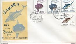 "Maroc, FDC 1966 "" Sahara Espagnol  "" Dia Del Sello , Journée Du Timbre ;poissons,fishs""Morocco,Marruecos - Sahara Español"