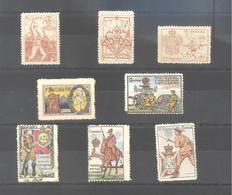 ERINNOPHILIE - MILITARIA - RARE ENSEMBLE DE HUIT BELLES VIGNETTES  ANCIENNES - REGIMENTS CANADIENS - W.W.1. - Vignettes Militaires
