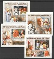 Y490 2010 GUINE-BISSAU 90TH ANNIVERSARY POPE JOHN PAUL II 4 LUX BL MNH - Papi