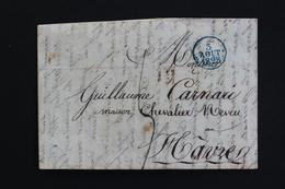 1828 LAC ST DIE CACHET ROND BLEU DU 03/08/1828 POUR LE HAVRE CACHET D ARRIVEE ROUGE DU 04/08/1828 TAXE MANUSCRITE 4 DEC - Marcophilie (Lettres)