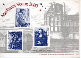 GRAVURE LA POSTE - MEILLEURS VŒUX 2000 - JEAN GOUJON - ANTON VAN DYCK - LEONARD DE VINCI - PATRIMOINE CULTUREL - Post