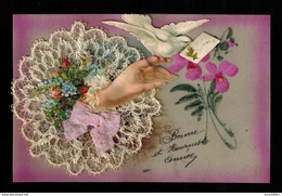 Celluloid - Fleurs Peintes à La Main - Ajoutis (main-colombe Et Dentelle) - Autres