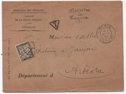 Enveloppe SIMPLE TAXE 2ème échelon PARIS 1894 Contreseing Ministre Des Finances 30c Noir Banderole - Taxes