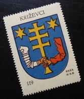 Croatia C1935 Yugoslavia Coffee Hag Poster Stamp Cinderella Coat Of Arm Krizevci Cross B1 - Verzamelingen & Reeksen