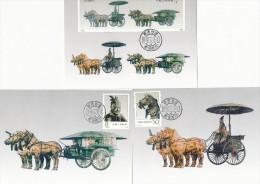 CHINA -  1990 ,  3  ,  Maximum Cards -  Bronzeskulpturen Aus Dem Grag Von Kaiser Qin Shi Huangdi - Archaeology